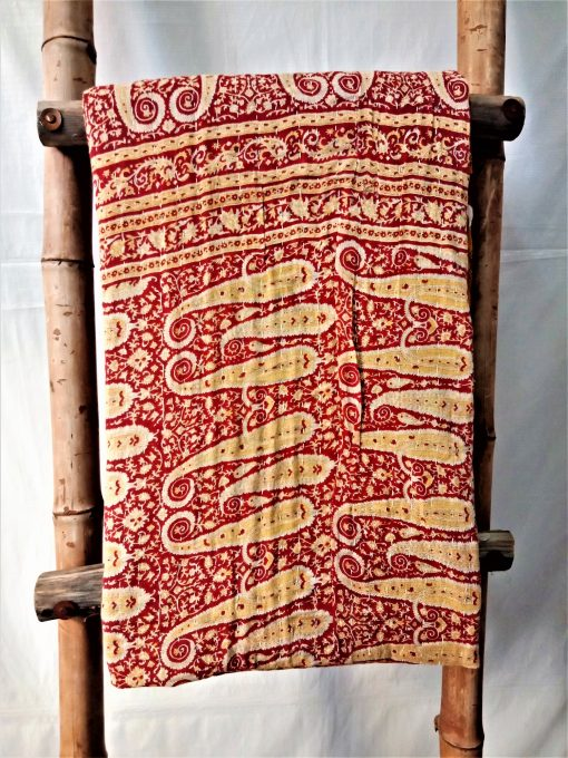 Indian Quilted Kantha Paisley Throw