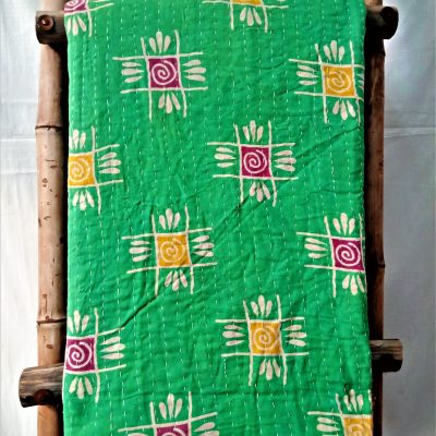 Geometric Vintage Kantha Quilted Throw