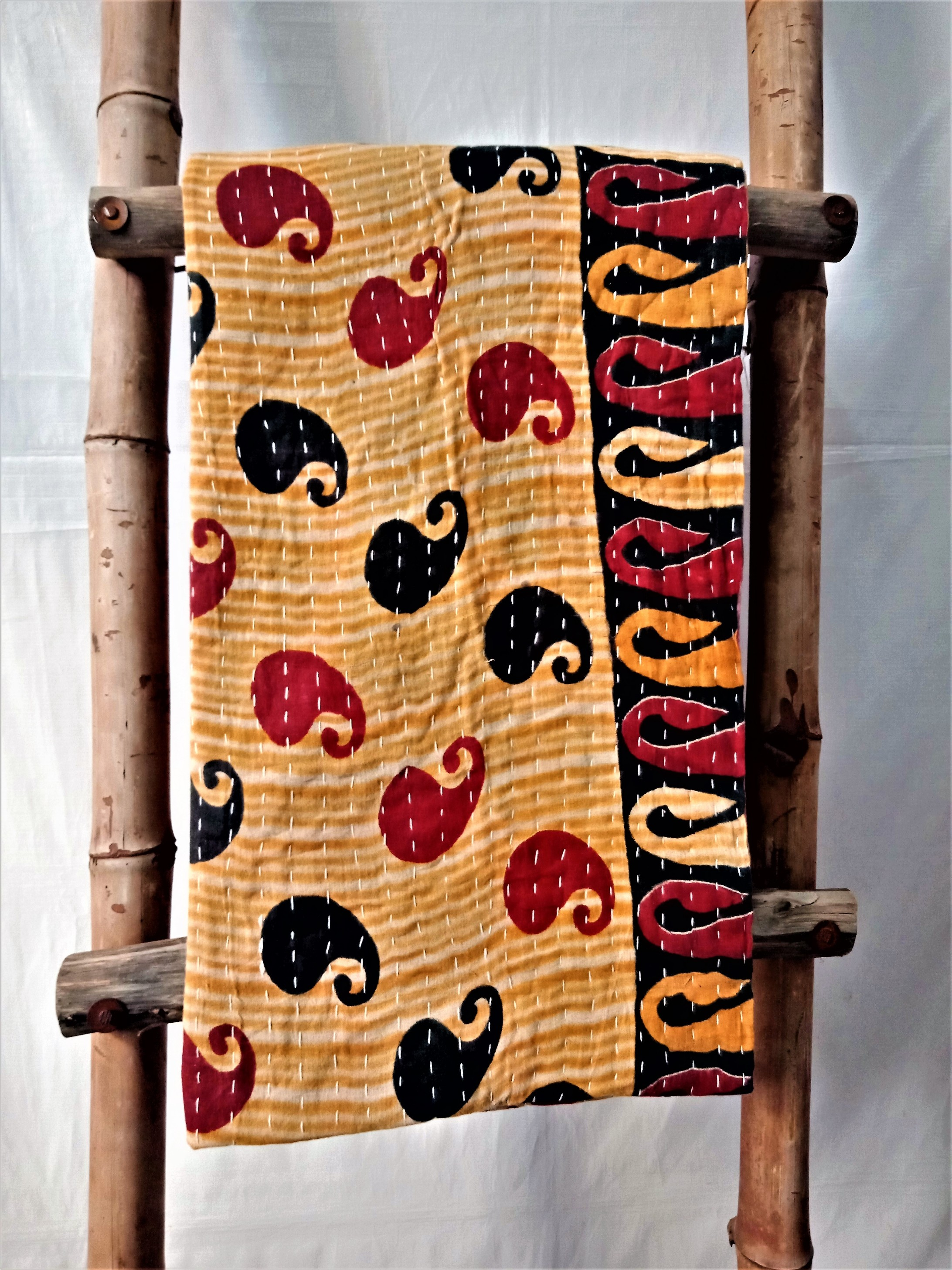 Black Red Paisley Kantha Quilt