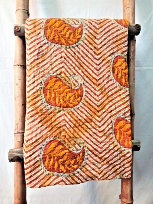 Leaf Paisley Vintage Kantha Quilt