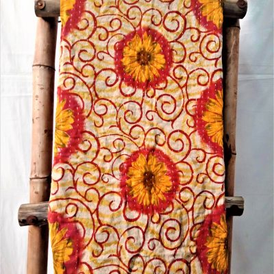 Sunflower Pattern Vintage Kantha Throw