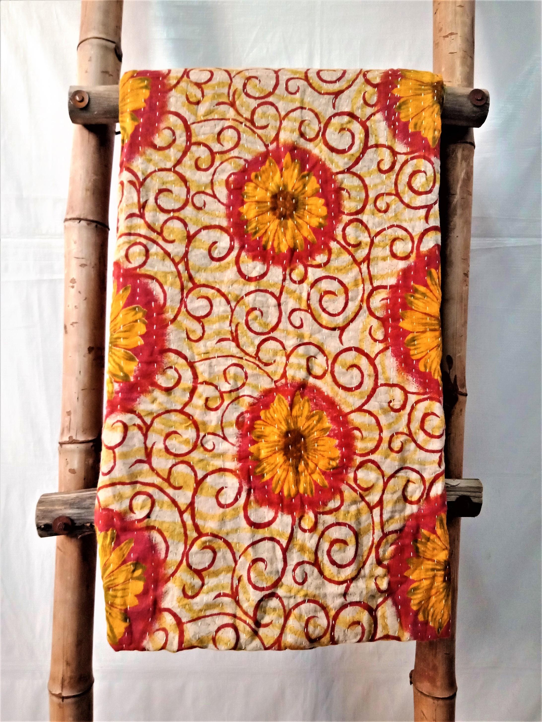 Sunflower Pattern Vintage Kantha Throw