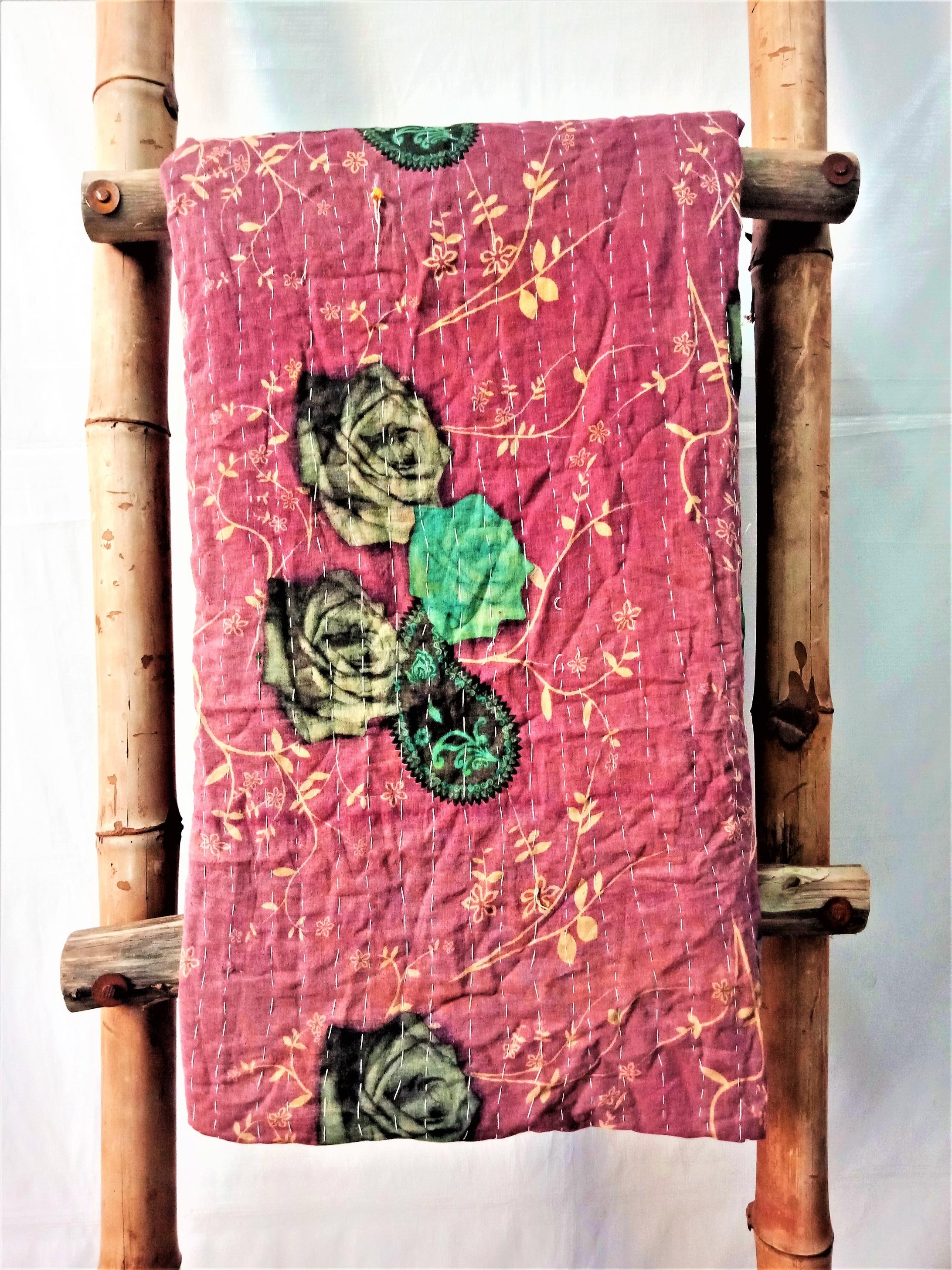 Roses Pattern Vintage Kantha Throw