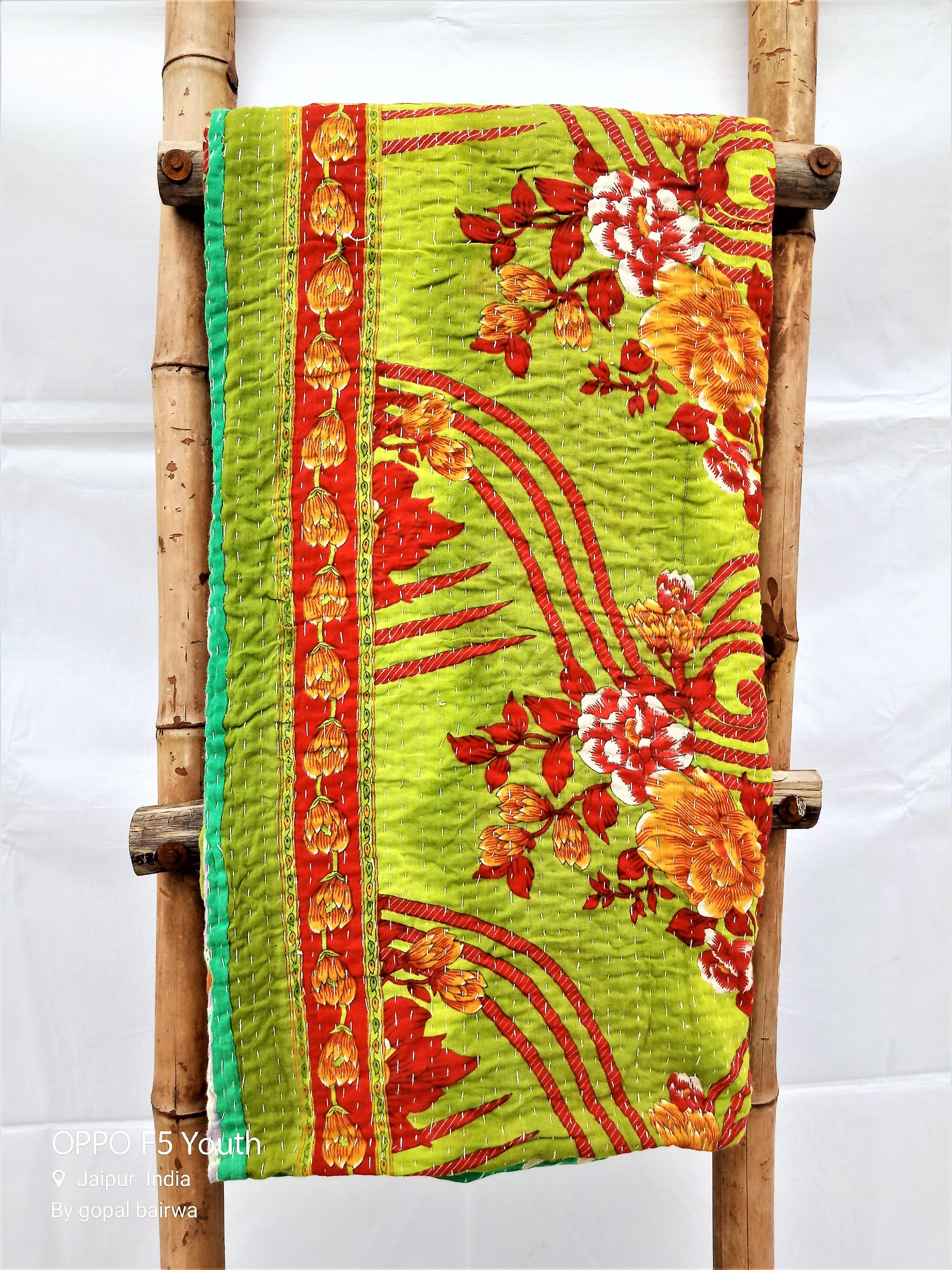 Indian Kantha Quilt Artisan Made