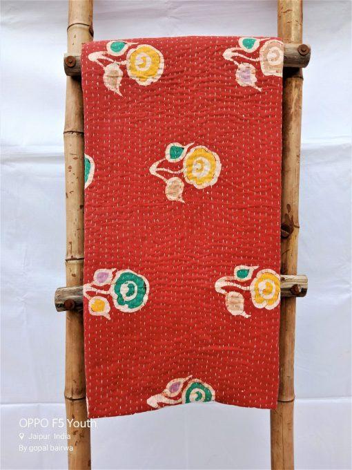 Vintage Kantha Reversible Queen Throw