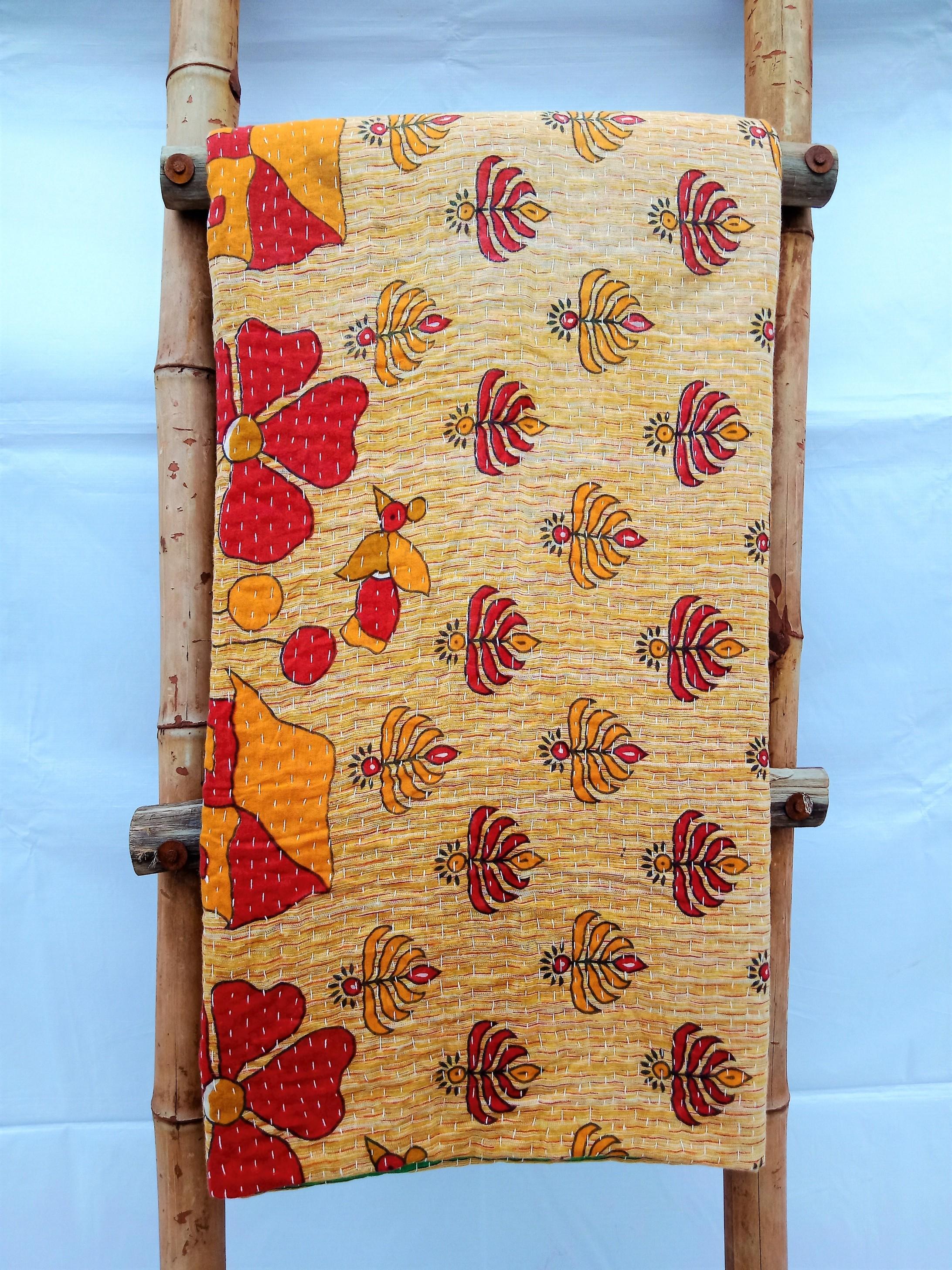 Queen Vintage Kantha Throw Blanket sale