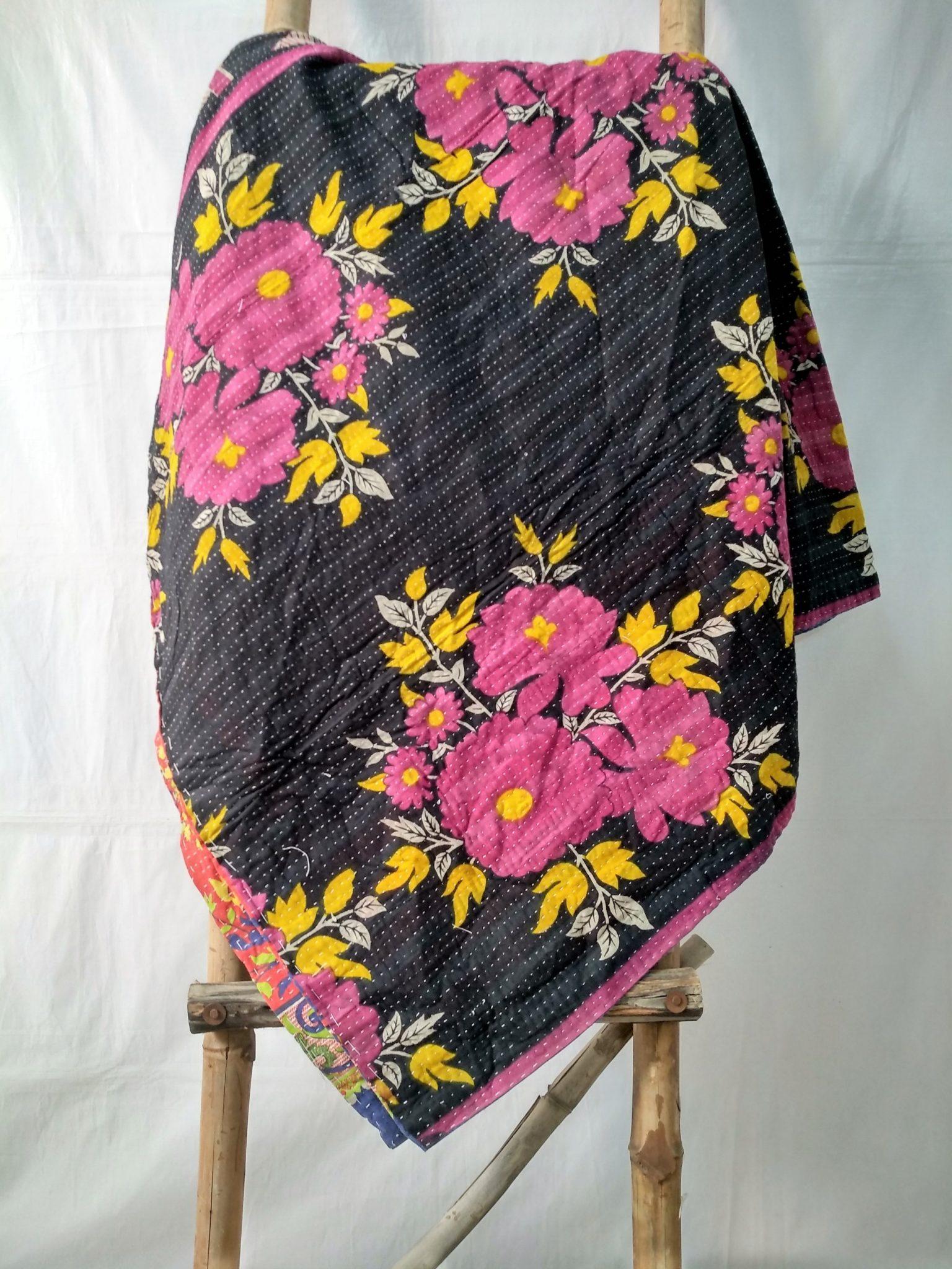 Rose Vintage Kantha Quilt