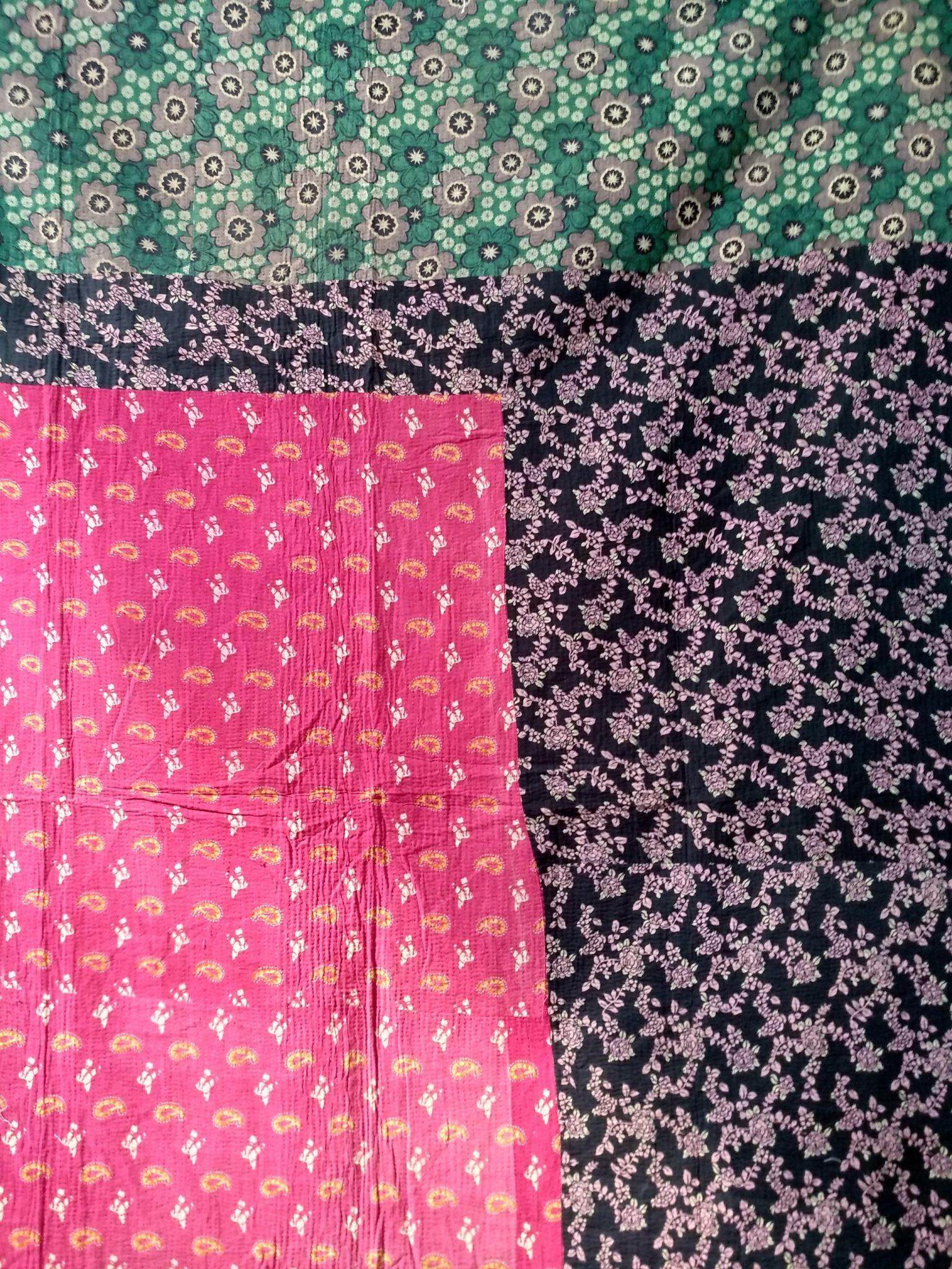 artisan made Paisley Garden Kantha Quilt