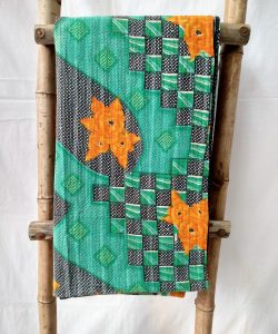Green Shade Kantha Quilt by Mira