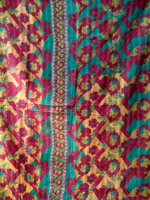 Summer Blossom Kantha Quilt Queen
