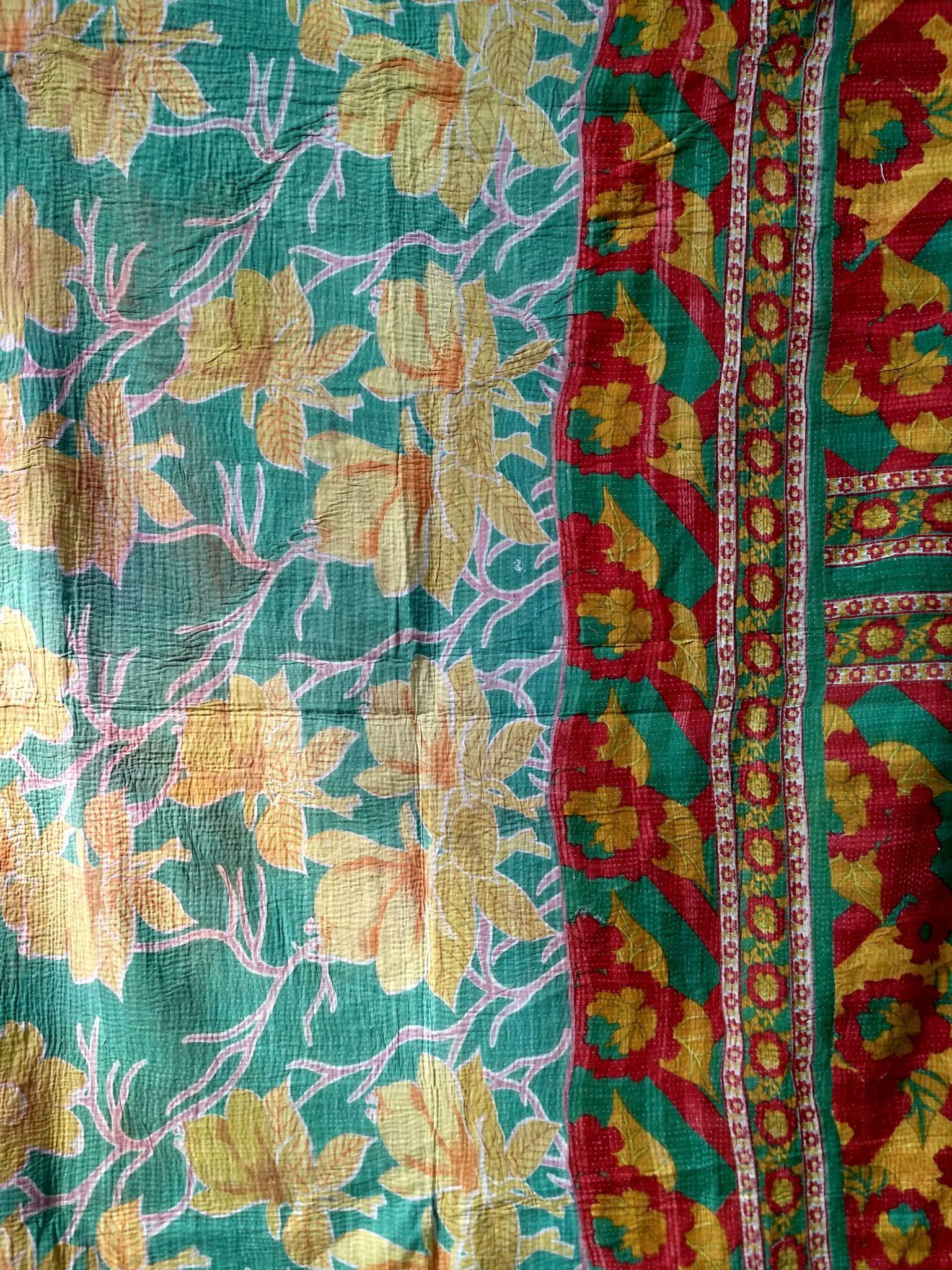 Summer Blossom Floral Kantha Quilt