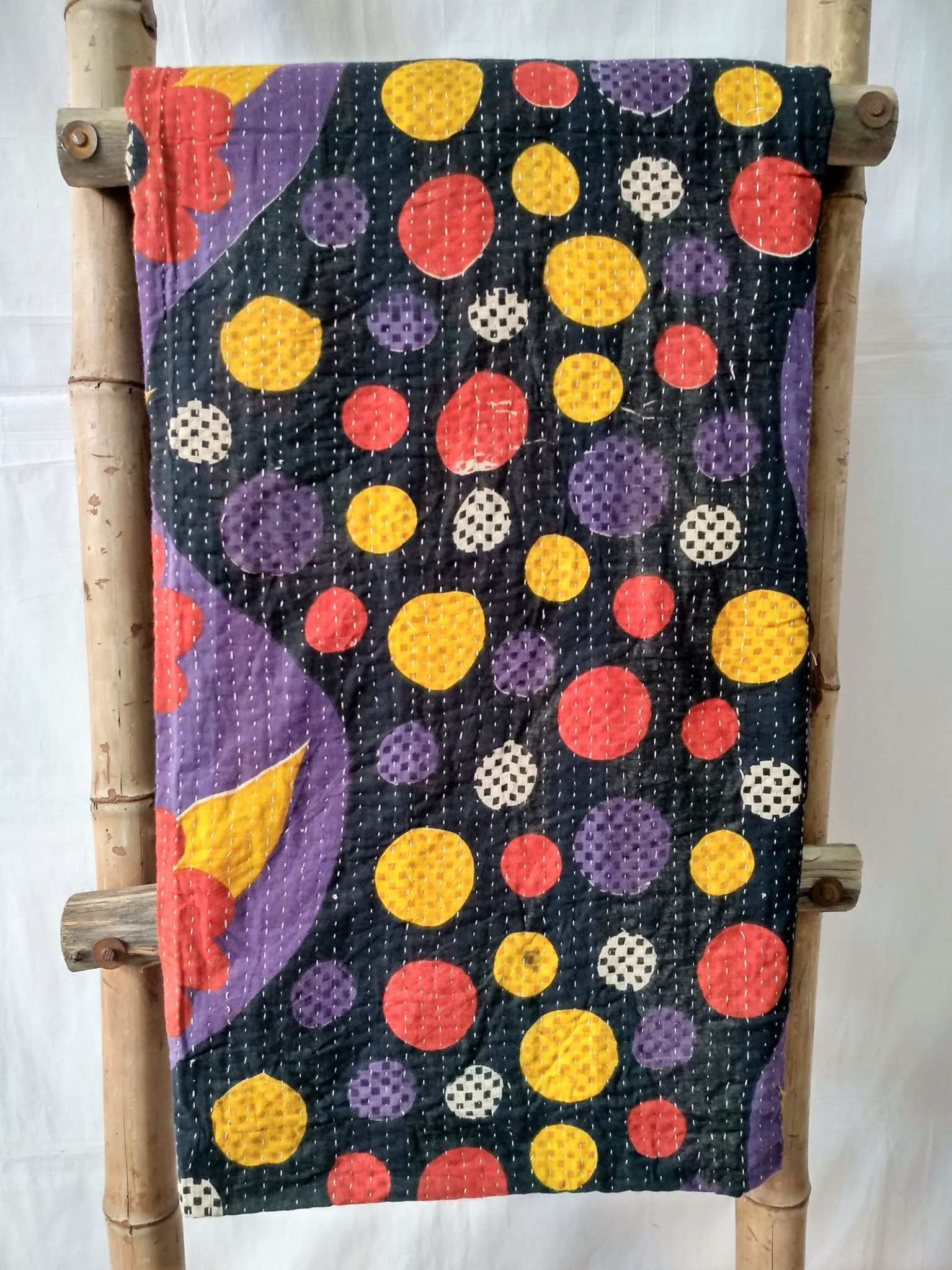 Multi-Color Polka Vintage Kantha Throw