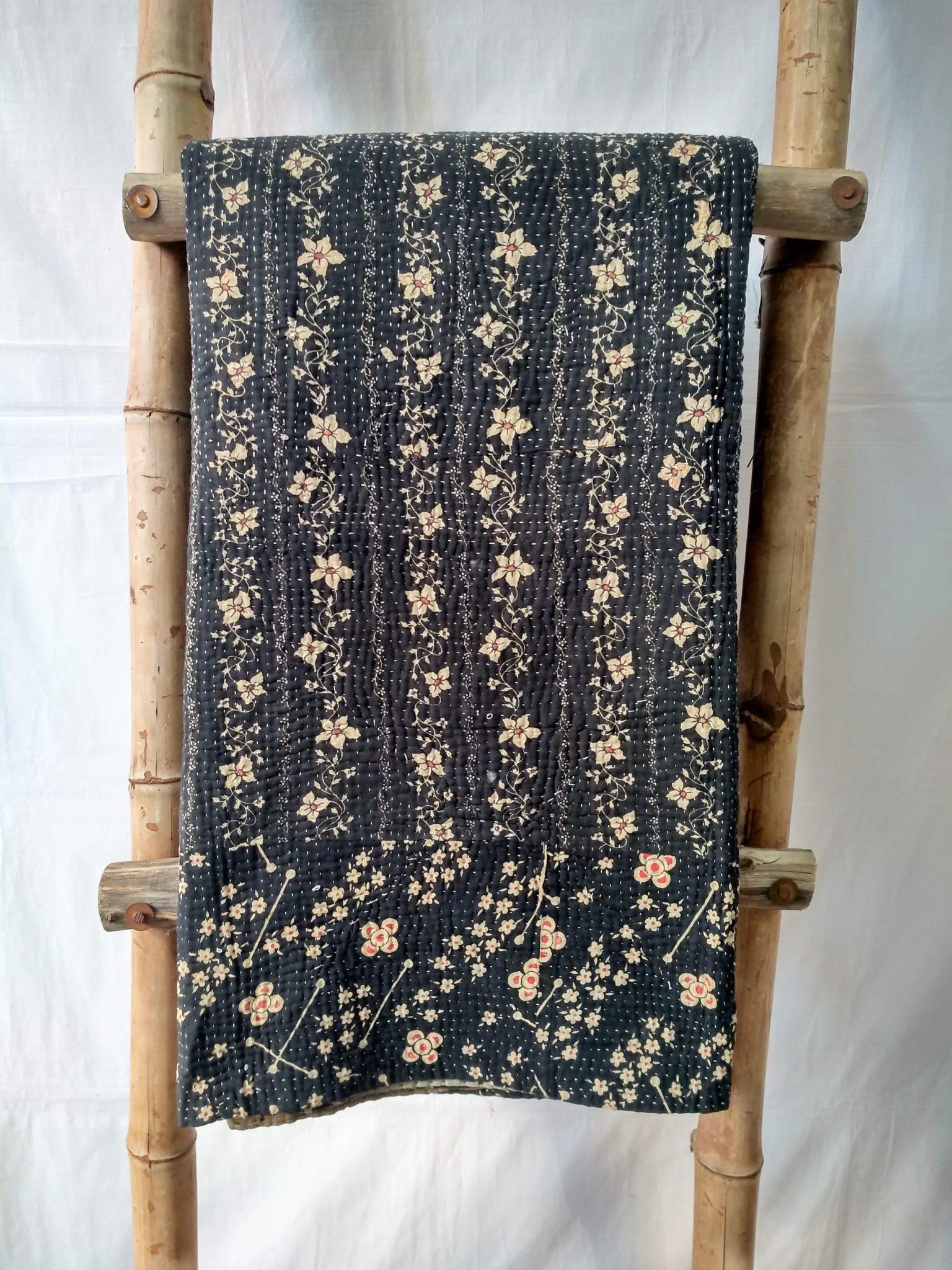 Black Constellation Vintage Kantha