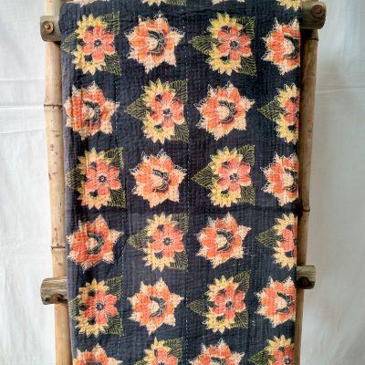 Floral Reversible Queen Kantha Quilt
