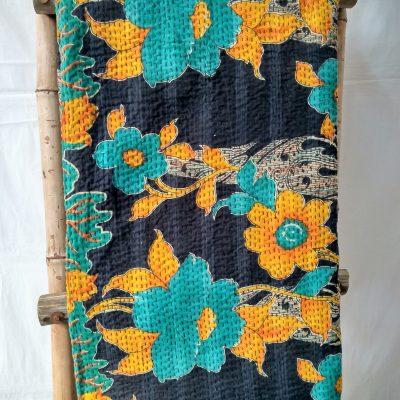 Floral Reversible Vintage Kantha Quilt