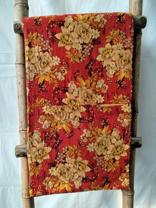 Geometric Floral Vintage Kantha Throw