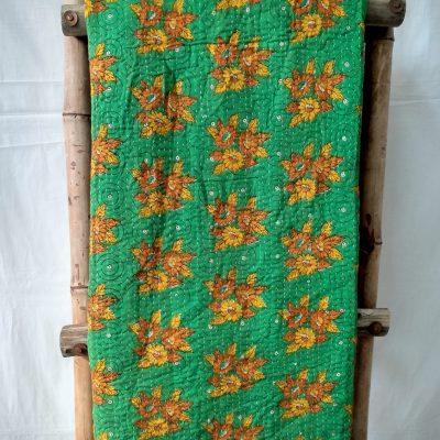 Emerald Green Vintage Kantha Blanket
