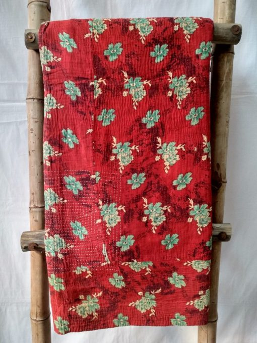 Love Color Red Vintage Kantha Throw