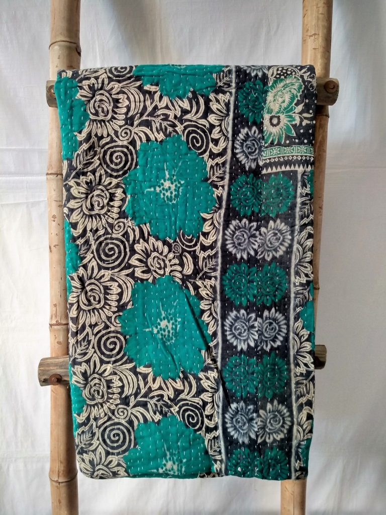 Emerald Green Vintage Kantha Quilt