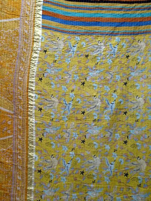 Twin Kantha Throw Bird Print