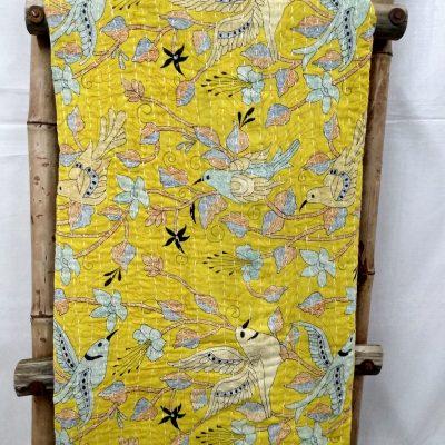 Rare Bird Print Kantha Quilt