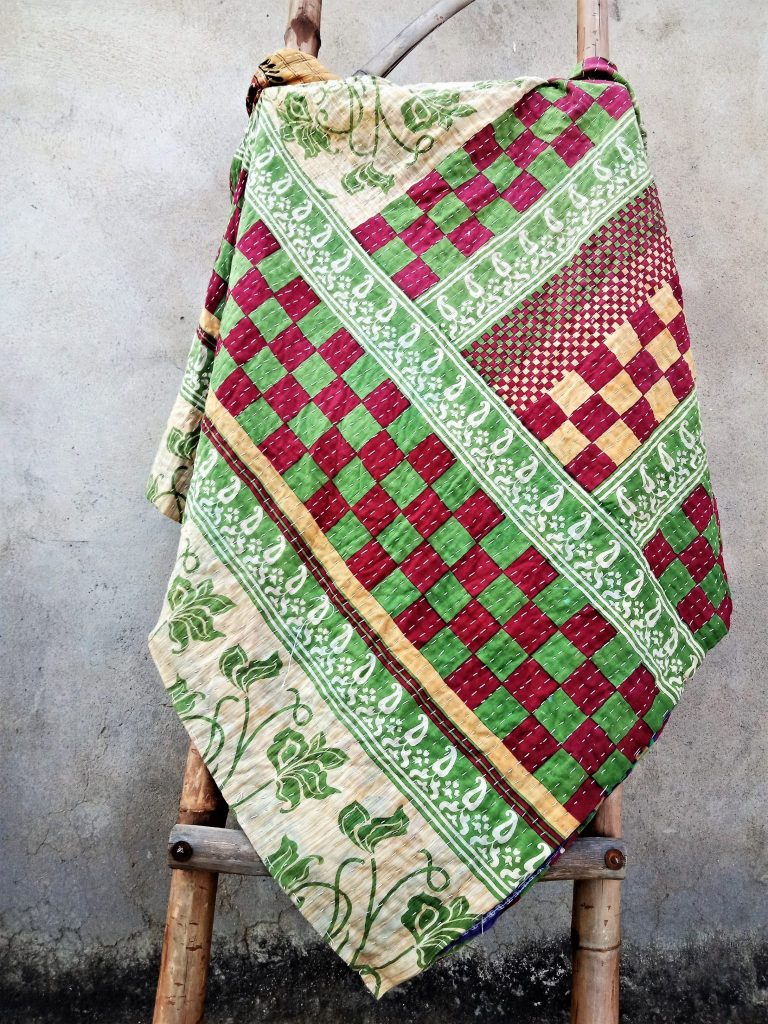 Checkerboard Floral Kantha Quilt Reversible