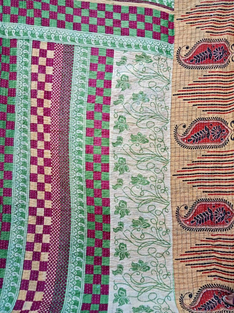 Checkerboard Vintage Kantha Quilt Reversible