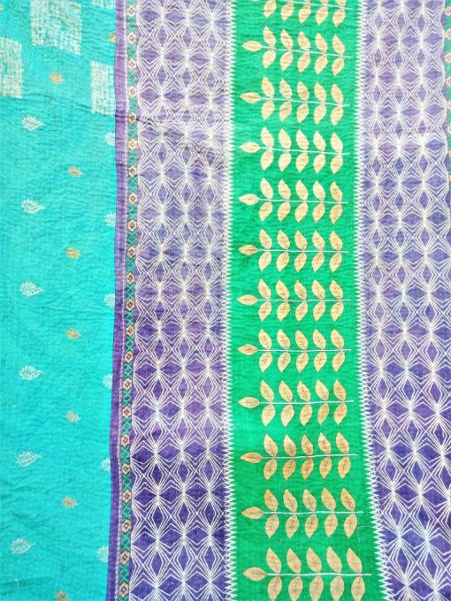 Checkerboard Twin Vintage Kantha Quilt Reversible