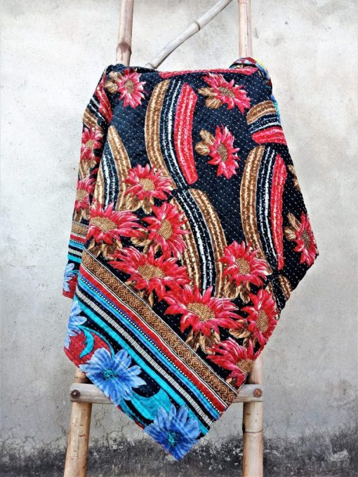 Modern Style Red Floral Kantha Quilt