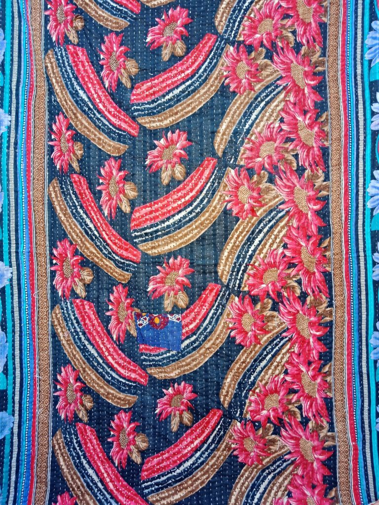 Twin Size Red Floral Kantha Quilt