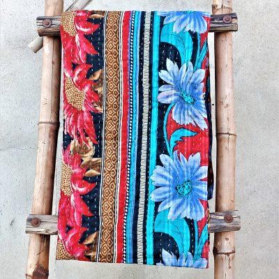 Modern Style Floral Kantha Quilt