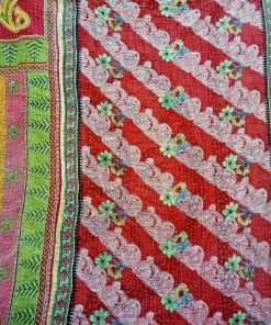 Twin Size Kantha Quilt Paisley Pattern
