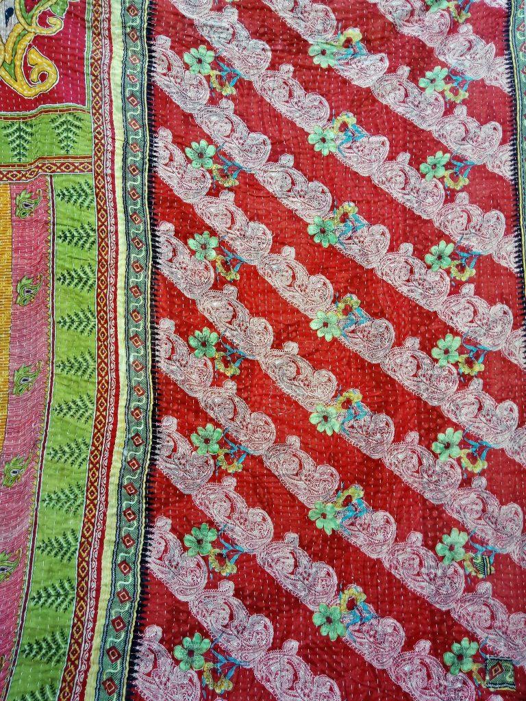 Twin Size Kantha Quilt Paisley Pattern