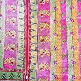 Paisley Twin Size Vintage Kantha Quilt