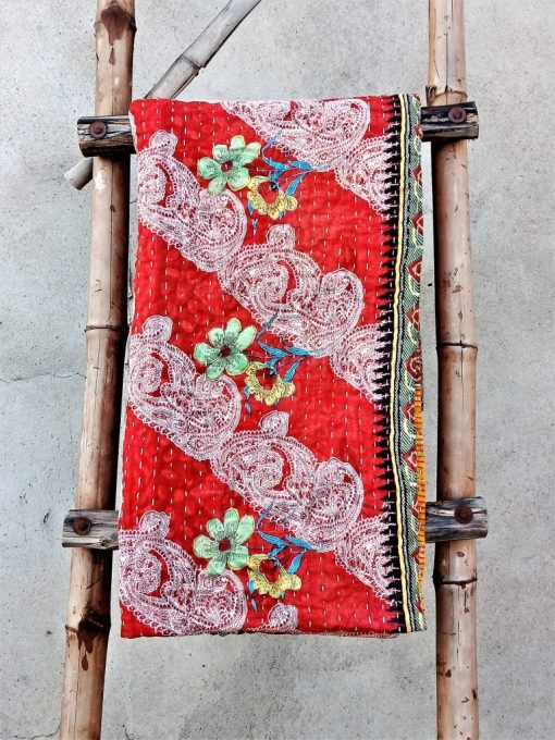 Handmade Kantha Quilt Paisley Pattern