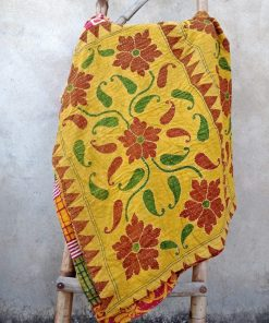 Vintage Handmade Kantha Quilt Paisley Floral