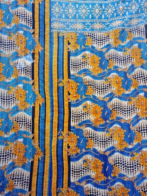 Artisan crafted Polka Dot Kantha Twin Quilt