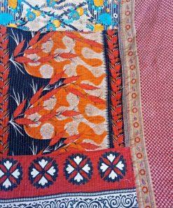Floral Polka Dot Kantha Twin Quilt