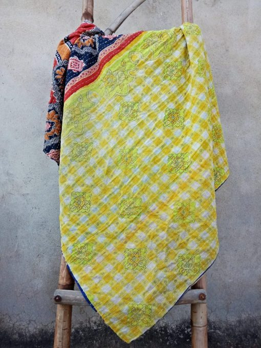 Checkerboard Polka Dot floral Kantha Quilt