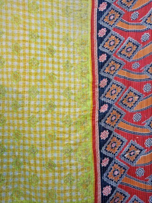 Polka Dot floral Reversible Kantha Quilt