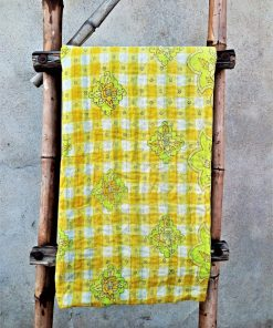 Polka Dot floral Kantha Throw