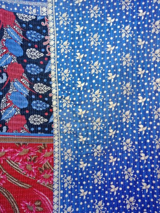 Polka Dot Cotton Reversible Kantha Quilt