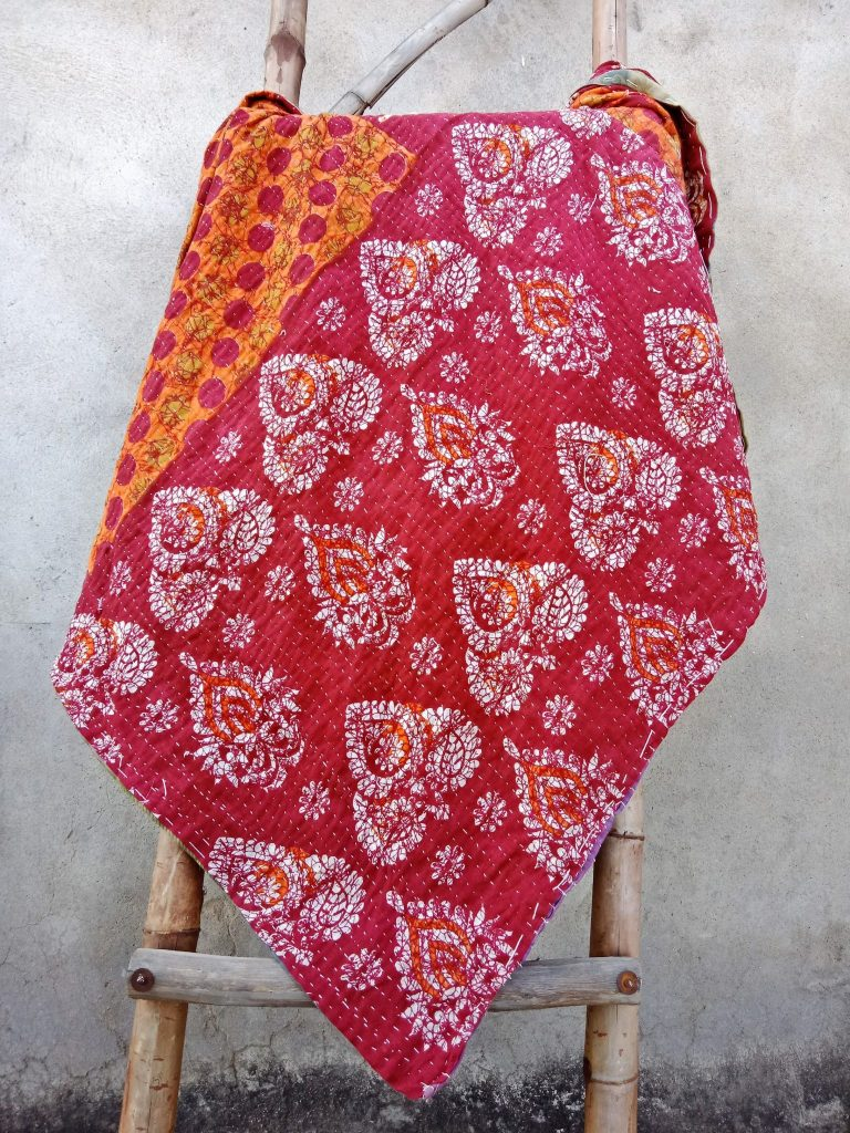Polka Dot 3 Layered Floral Kantha Quilt Twin Size