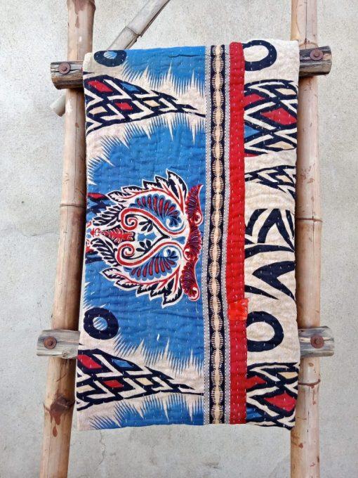 Polka Dot Paisley Indian Kantha Quilt