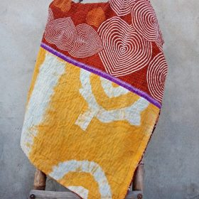 Spiral Heart Twin Size Vintage Kantha Quilt