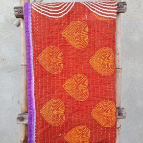 Spiral Heart Vintage Kantha Quilt