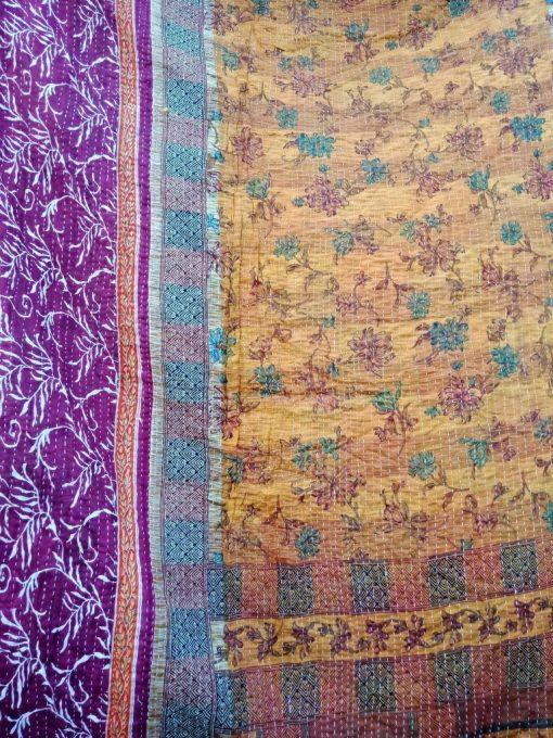 Floral Twin Size Vintage Kantha Quilt