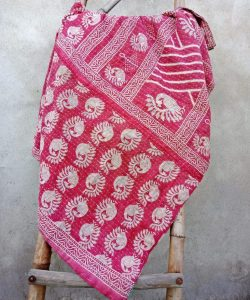 Peacock Red Vintage Kantha Throw