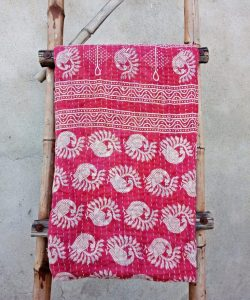 Peacock Vintage Kantha Throw