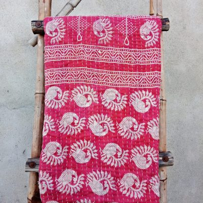 Peacock Vintage Kantha Throw